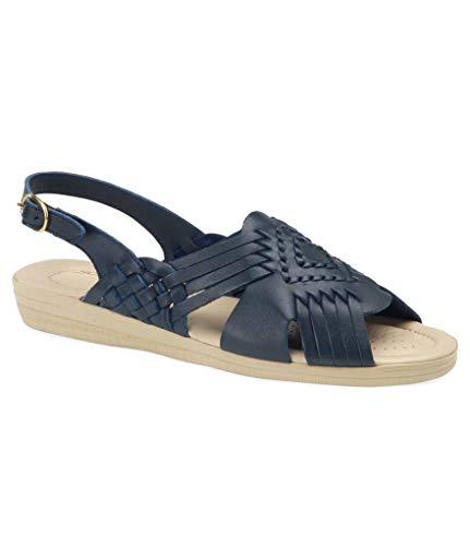 softspots Womens Tela Leather Peep Toe Casual Slingback, Navy Blue, Size 11.0