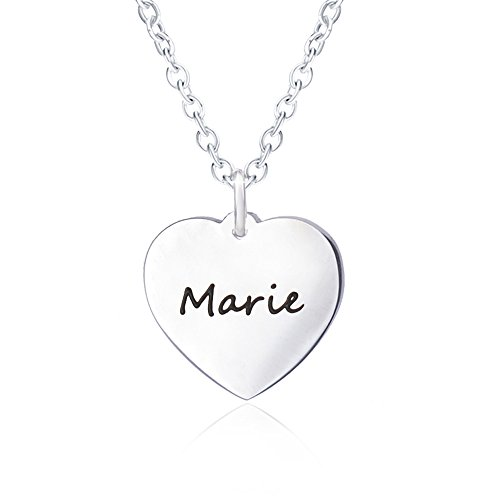 Bala Marie Name Necklace for Women Personalized with Silver Heart Necklaces Girlfriend Script Pendant Carved Engraved ()