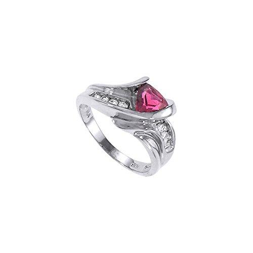Pink Tourmaline and Diamond Ring 14K White Gold 1.00 CT TGW