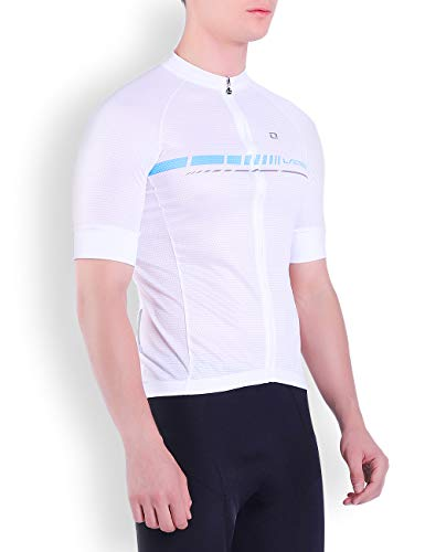 (LAMEDA Men Basic Short Sleeve Cycling Jersey (White,)