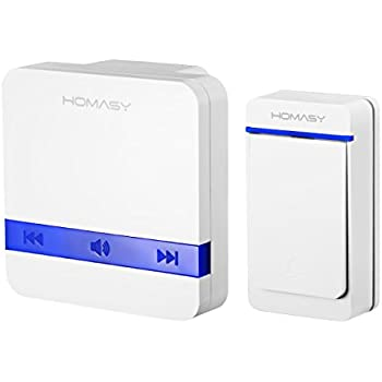 Homasy Wireless Doorbell Kit, 1000 feet Range with 52 Chimes, 5 Volume Levels and LED Flash, White