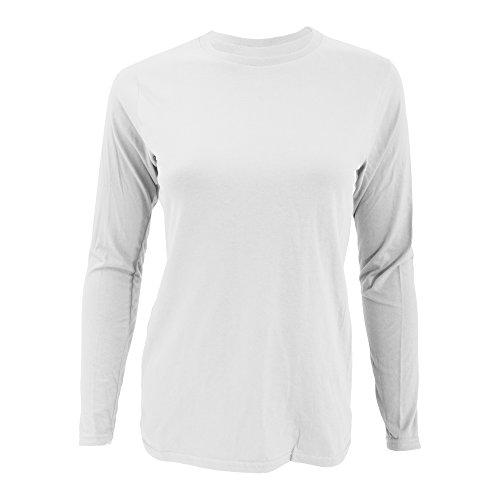 Anvil- Camiseta Fashion de manga larga lisa ajustada para chica/mujer Blanco