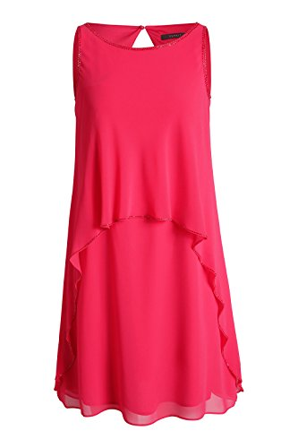 Einfarbig ESPRIT Damen 699 Pink Kleid Flamingo Collection Knielang Rosa Chiffon aus wHrYgqw