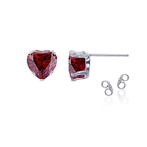 Heart Earring Ruby 5mm Created (Sterling Silver Rhodium 5x5mm Heart Created Ruby Stud Earring with Clutch)