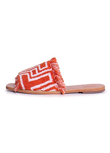 Ivory Slides Tory T Tile Orange Flat Burch Cloth Terry n8Ox8wUvq