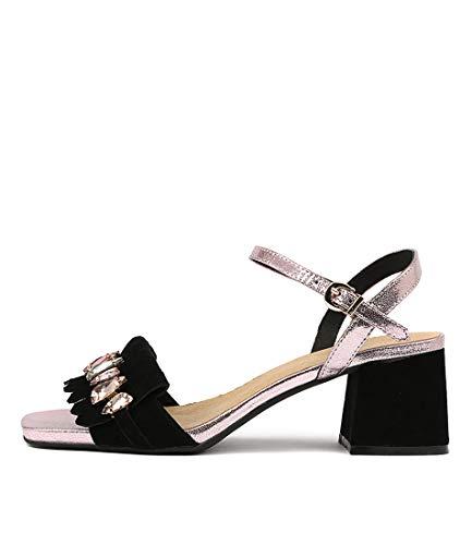 DJANGO & JULIETTE Maura Womens Heels Womens Shoes BLACK ROSE GOLD SUEDE LEATHER