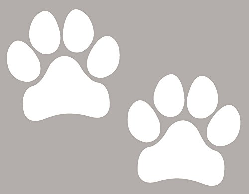 (Paw Prints, WHITE Pawprints, Paws, Dog, Puppy, Pup, Mutt, Canine, Print, Car, Auto, Wall, Locker, Laptop, Ipad, Notebook, Netbook, Vinyl, Sticker, Decal, Label, Placard,)