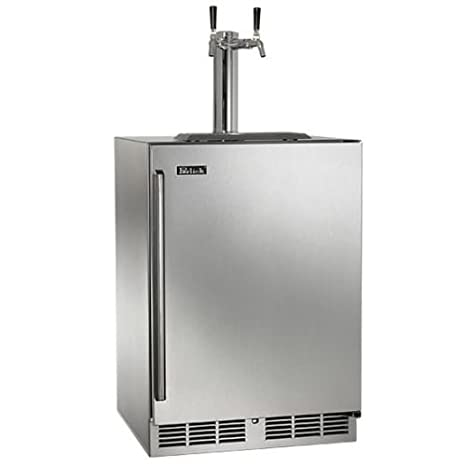 "Perlick HP24TO-3-1R2 24"" Outdoor Beer Dispenser with Dual Faucet Rapidcool Forced Air Refrigeration System Stainless Steel Interior and 995 BTU Variable-Speed Compressor in Stainless Steel with Right"