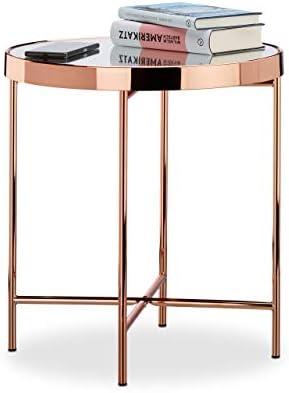 Populair En Goedkoop Relaxdays Bijzettafel koper, glas spiegel, bijzettafel, spiegelglas, edel, modern, HBT: 46 x 42 x 42 cm, koper  CZDaOKc