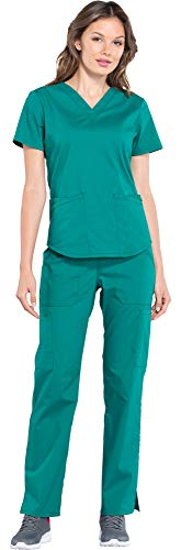 Cherokee Workwear Professionals Women's V-Neck Top WW665 & Women's Pull-On Cargo Pant WW170 Scrub Set (Hunter Green - X-Small/Small Petite)