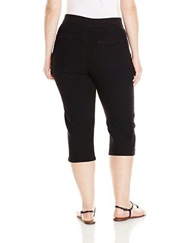 Chic Classic Collection Women's Plus-Size Easy Fit Elastic Waist Pull-On Capri, Black Denim, -
