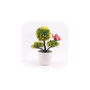 Artificial Plants Bonsai Small Tree Pot Plants Fake Flowers Potted Ornaments for Home Decoration Hotel Garden Decor,B04 119