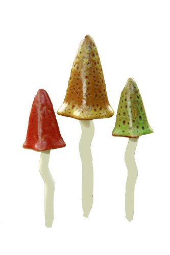 - Bosmere W118 3-Pack Garden Ceramic Lawn Ornament, Toadstools, Autumn Colors