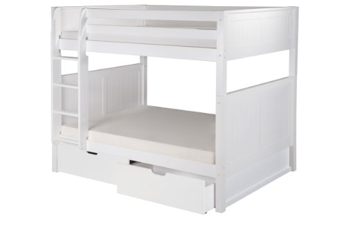 Camaflexi Panel Style Solid Wood Low Bunk Bed with Drawers, Full-Over-Full, Side Attached Ladder, White For Sale