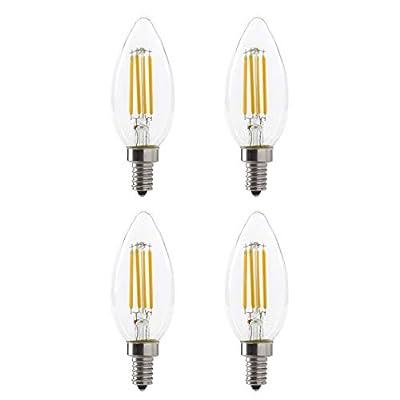 LED B10 4W Torpedo Filament Chandelier Light Bulb, 40W Equivalent, 330 Lumens, 2700K Soft White, Dimmable, 120V, E12 Candelabra Base, Energy Star, Clear