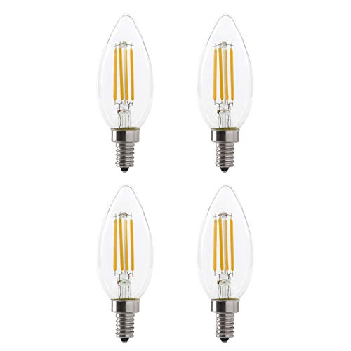 LED B11 5W Torpedo Filament Chandelier Light Bulb, 60W Equivalent, 500 Lumens, 2700K Soft White, Dimmable, 120V, E12 Candelabra Base, Energy Star, Clear (4 Pack)