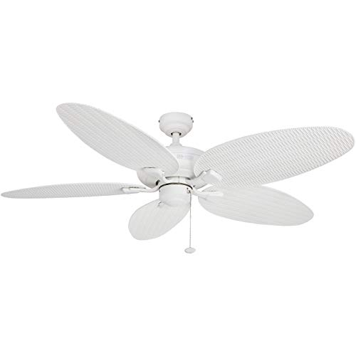 (Honeywell Duvall 52-Inch Tropical Ceiling Fan, Five Wet Rated Wicker Blades, Indoor/Outdoor, White (Renewed))