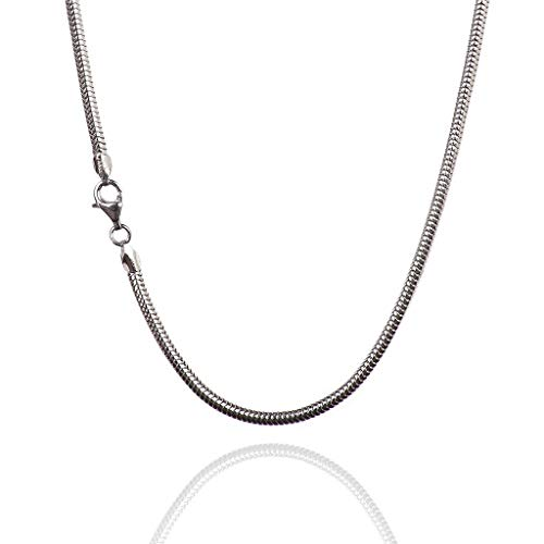 (925 Sterling Silver 3.00 mm Real Snake Chain Necklace with Pear Shape Clasp-Rhodium Finish)