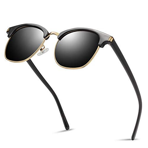 (Semi Rimless Sunglasses Polarized for Men Women, Classic Retro Half Frame Sunglasses KANASTAL K1926 (Shiny Black)