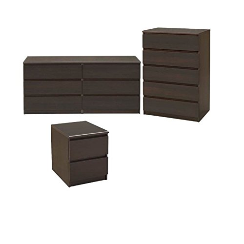 (Home Square 3 Piece Bedroom Set with 6 Drawer Double Dresser, 5 Drawer Chest and 2 Drawer Nightstand in)