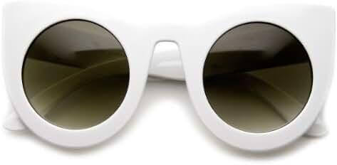 zeroUV - Womens Oversized Bold Rim Round Cateye Sunglasses