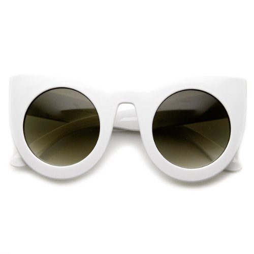 [zeroUV - Womens Oversized Bold Rim Round Cateye Sunglasses (White)] (70s Ladies Fashion)
