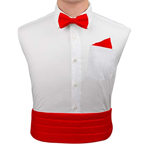 RED Formal Pre-tied Bow Tie Hanky Cufflinks and Cummerbund Set with Gift Box Cm1016  Red