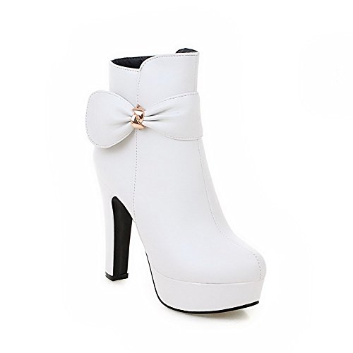 AgooLar Women's Solid Pu High Heels Zipper Round Closed Toe Boots with Bows White