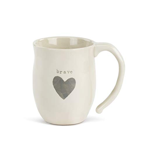 Brave Heart Grey Cream 12 ounce Ceramic Stoneware Inspirational Coffee Mug