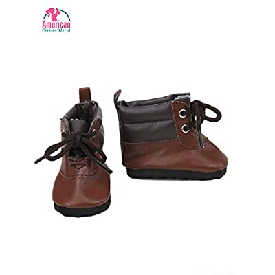 American Fashion World Boy Boots Made for 18 inch Dolls Such as American Girl Dolls (Brown): Toys & Games