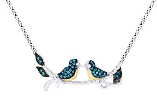 Blue Natural Diamond Two Tone Love Bird Pendant Necklace 14K White Gold Over Sterling Silver (0.10 Cttw)