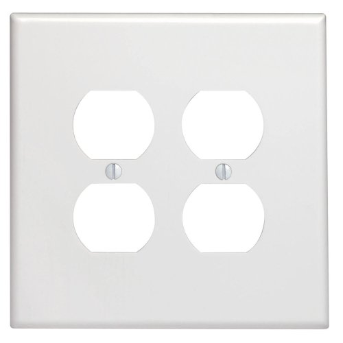 Leviton 88116 2-Gang Duplex Device Receptacle Wallplate, Oversized, Thermoset, Device Mount, White