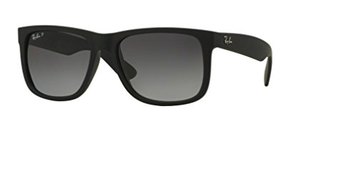 Ray-Ban RB4165 Justin Polarized Sunglasses Matte Black w/Grey Gradient (622/T3) 4165 622T3 55mm Authentic