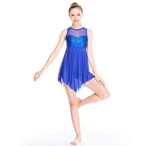 MiDee Lyrical Dress Dance Costume Illusion Sweetheart Sequines Tank Top Trianglar Skirt (SA, Royal Blue) -