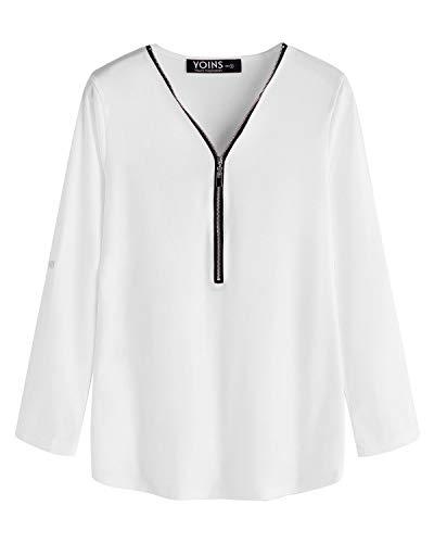 YOINS Donna Bluse e Camicie Casuale Camicetta T-Shirt Scollo a V Magliette Donna Felpa Camicia e Zip Tops