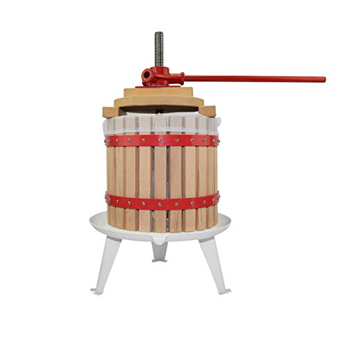 3.2 Gallon Fruit Wine Press - 100% Nature/Healthy Apple&Grape&Berries Crusher Manual Juice Maker for Kitchen, Solid Wood Basket with 2 Blocks Cider Wine Making Press (LFGB Certified,Heavy Duty)
