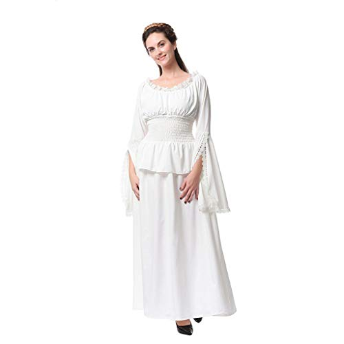 Clearance Renaissance Dress, Forthery Medieval Dress Costume Mythic Forest Sword Mistress Chemise Halloween(White,XXXL)]()