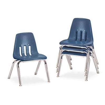 (Virco 9000 Series Classroom Chairs, 12in Seat Height, Navy/Chrome, Four/carton )