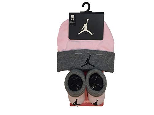 Nike Jordan Infant Baby Hat and Booties Set (Heather(LJ0102-A31)/Pink, 0-6 Months) -