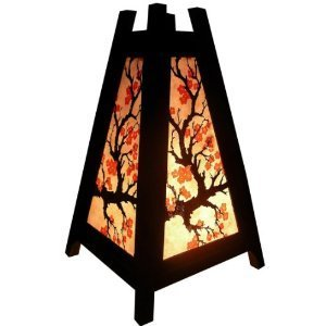 NAVA CHIANGMAI Handmade Pyramid Japanese Red Sakura Cherry Blossom Tree Branch Bedside Table Lanna Paper Lamp Wood Shades Lights Home Decor Bedroom - Nyc Japanese Design Store