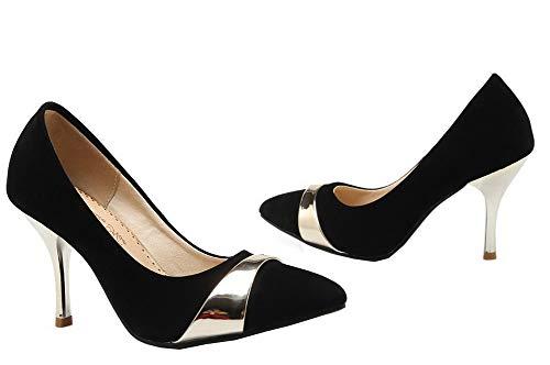 Punta Camoscio Delle Donne Allhqfashion on Nero shoes Imitato Fbudd011924 Rotonda Alti Pompe Pull tacchi 5pYBzB