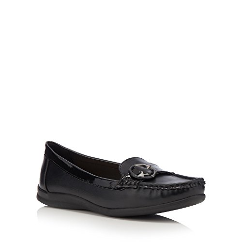 Good for the Sole Womens Black Faux Leather Buckle 'Gone' Wide Fit Loafers PWafAYKck