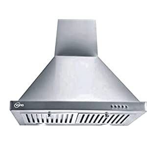 WIBRO 60 cm 1000 m³/HR Pyramid Kitchen Chimney (Hood Class Plus PB BK LTW 60, 2 Baffle Filters (White)