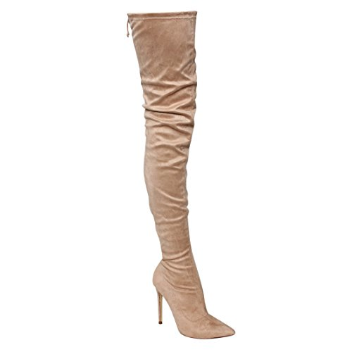 High Women's GE32 Thigh Stiletto Toe Boots Drawstring Pointy Nude Liliana 5R6qwOYO