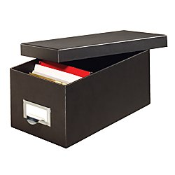 Fiberboard Index Card Storage Box, 4 x 6 Inches, Solid Black (4X6BLA) (Adjustable Card File)