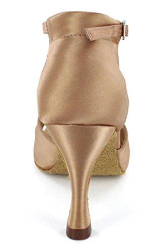 Tda Womens Peep Toe Tacco Svasato Cristalli Raso Salsa Tango Ballroom Latino Moderno Scarpe Da Ballo Di Danza Marrone
