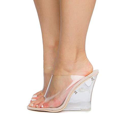CAPE ROBBIN Women's Transparent Lucite Clear Wedge Heel PVC Open Toe Slip On Mules Lemonade (7, Nude)