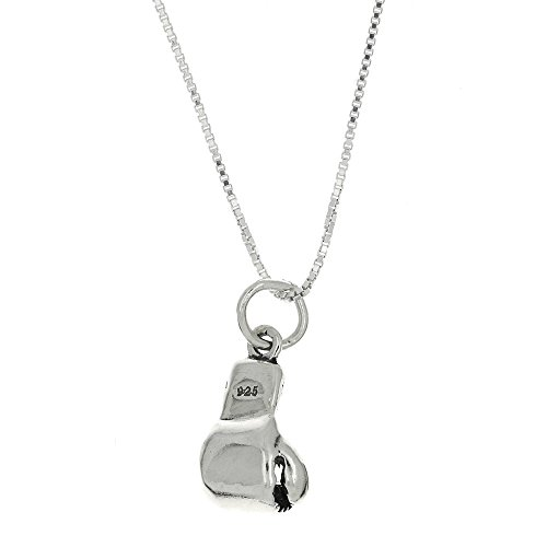 (Sterling Silver Three Oxidized Dimensional Boxing Glove Charm with Polished Box Chain (24 Inches))