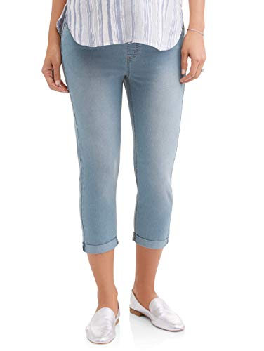 RUMOR HAS IT Maternity Over The Belly Cuffed Capri Crop Straight Jeans (Power Wash, Large)