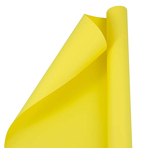 JAM PAPER Gift Wrap - Matte Wrapping Paper - 25 Sq Ft - Matte Yellow - Roll Sold Individually ()